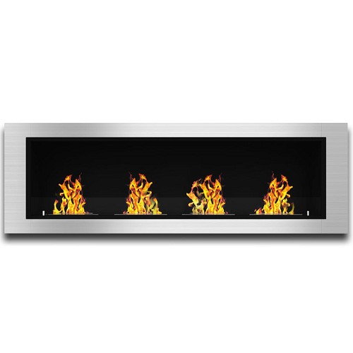 Regal Flame Charlotte 64 Inch Ventless Built In Recessed Bio Ethanol Wall Mounted Fireplace