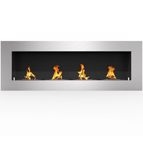 Regal Flame Warren 60 Inch PRO Ventless Built In Recessed Bio Ethanol Wall Mounted Fireplace