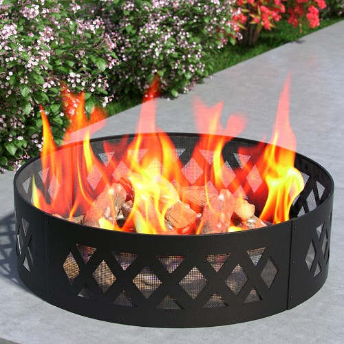 Regal Flame Heavy Duty Crossweave 38 Inch Backyard Garden Home Running Horse Light Wood Fire Pit Ring For Rv Camping And Outdoor Fireplace